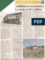 Sai relatório de viabilidade de trem turístico; opção plausível é orçada em R$ 2 milhões