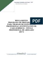 Reglamento Programa de Preparación Para Trabajo de Suficiencia Profesional 2017
