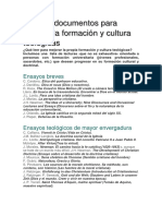 Libros y documentos para mejorar la formación y cultura teológicas