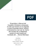 Enquiridion o Manual Del Cauallero Christiano Compuesto en Latin Por Erasmo