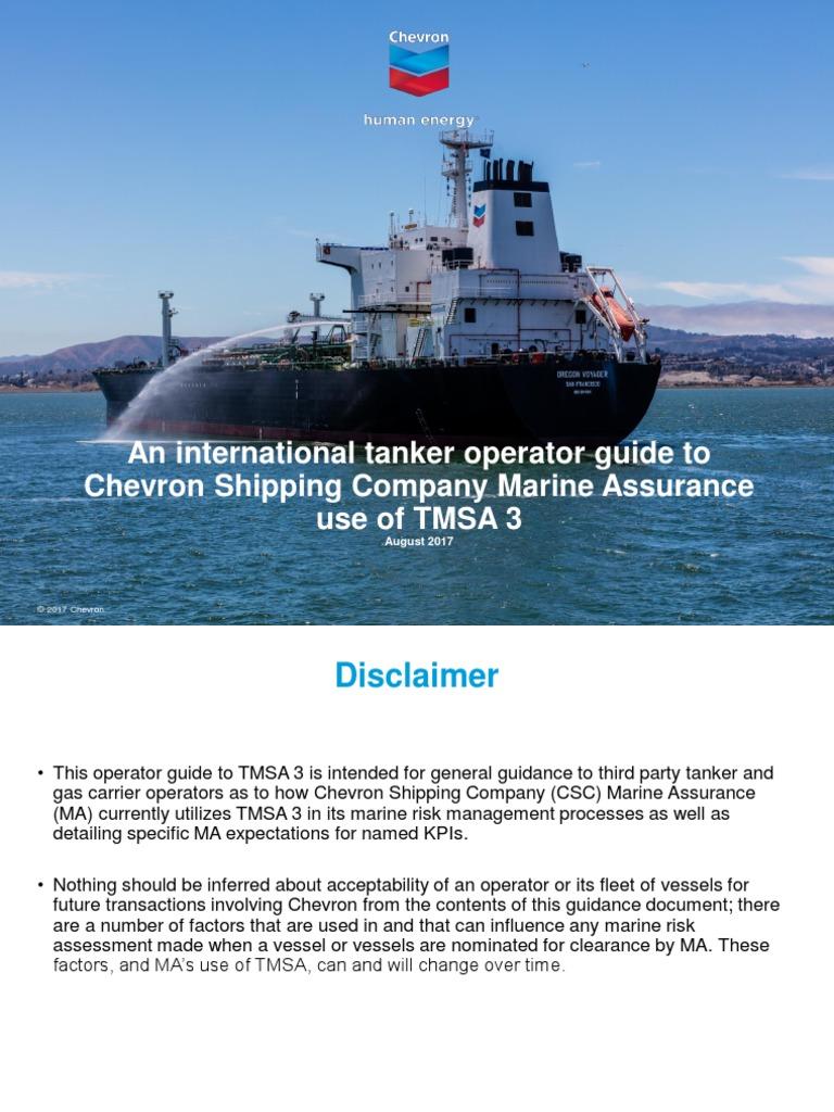 Operator Guide to Chevron Shipping Company Marine Assurance Use of TMSA 3 |  Educational Assessment | Chevron Corporation