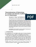 Thermodynamics of Electrolytes III