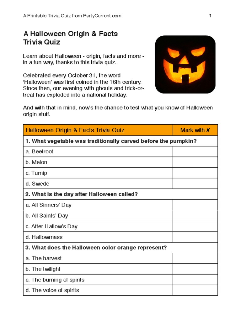 image about Printable Halloween Trivia known as Halloween Origin Trivia Halloween Pumpkin