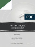Notas Sobre a Fotografia Analogica e Digital
