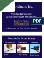 Micro Strain Wireless Sensors Aircraft Structural Health Monitoring 2008