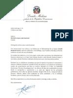 Carta de condolencias del presidente Danilo Medina a Demetria López viuda Rowland por fallecimiento de su esposo, Donald Rowland Francis