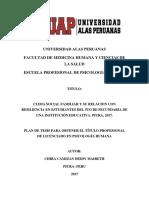 Clima Social Familiar y Su Relacion Con Resiliencia en Estudiantes Del 5to de Secundaria de Una Institución Educativa. Piura, 2017.