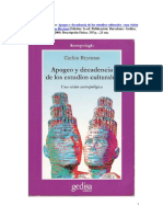 Reynoso, Carlos - Apogeo Y Decadencia de Los Estudios Culturales