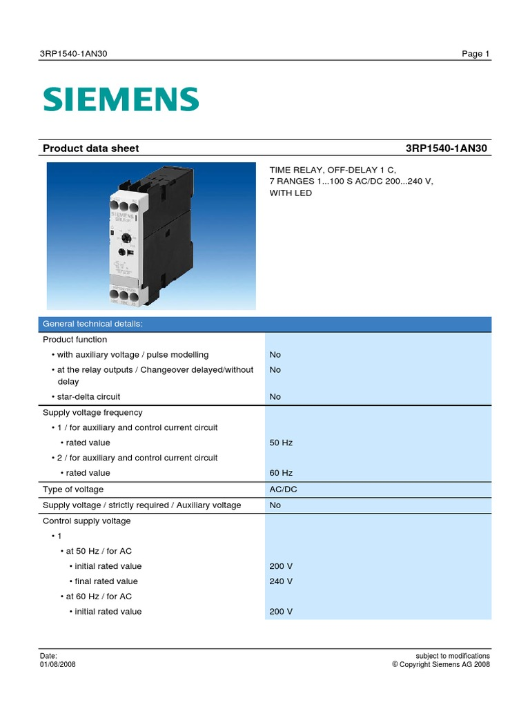 Time Relay Off Delay Datasheet 3rp1540 1an30 Enpdf Switch Current Pulse