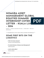 Nomura Asset Management Global Equities Summer Internship Cover Letter - Kuala Lumpur - 2016 - Cover Letter Library