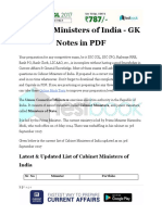 Cabinet Ministers of India GK Notes in PDF
