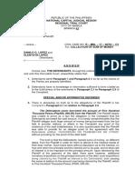 Final Version - (Answer - Civil Case) Teresa p. Cruz vs. Danilo g. Lopez & Elenygyn Lopez