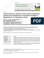 Characteristics of Effective Interventions Supporting Quality Pain Management in Australian Emergency Departments an Exploratory Study