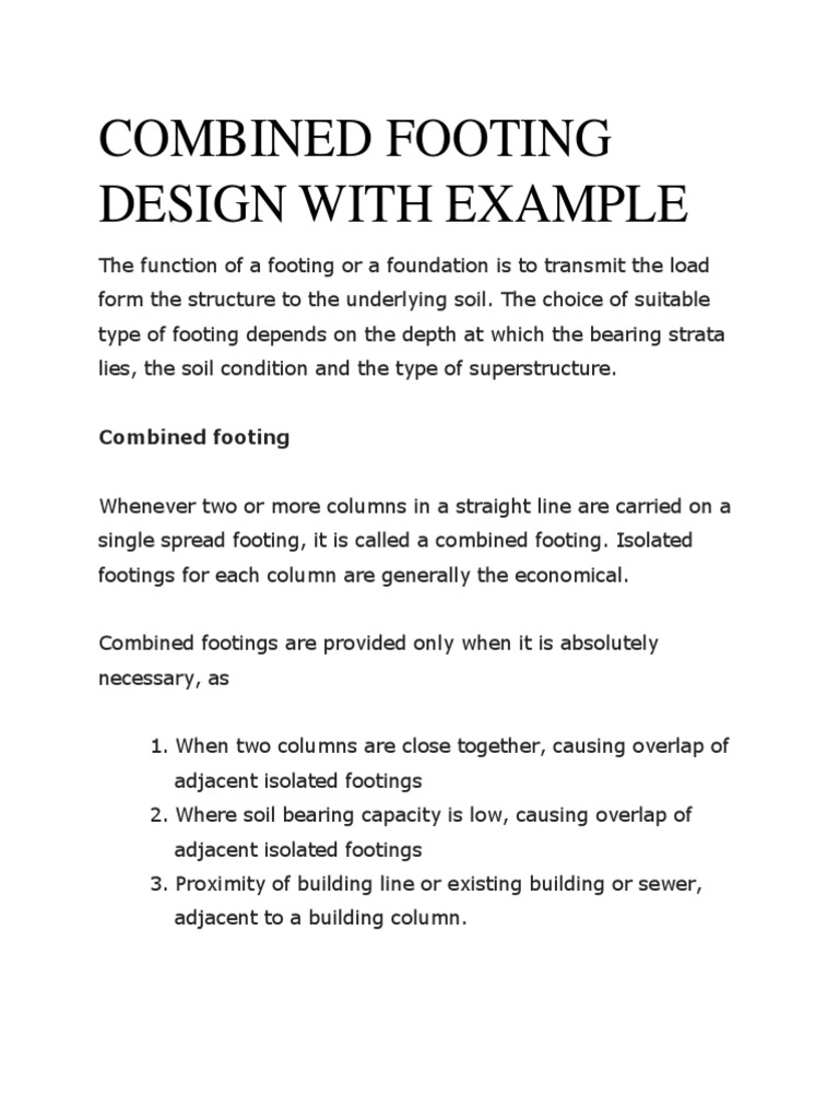 Combined Footing Design With Example | Bending | Column