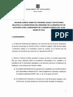 Informe jurídico sobre los plazo de investidura en el Parlament de Cataluña