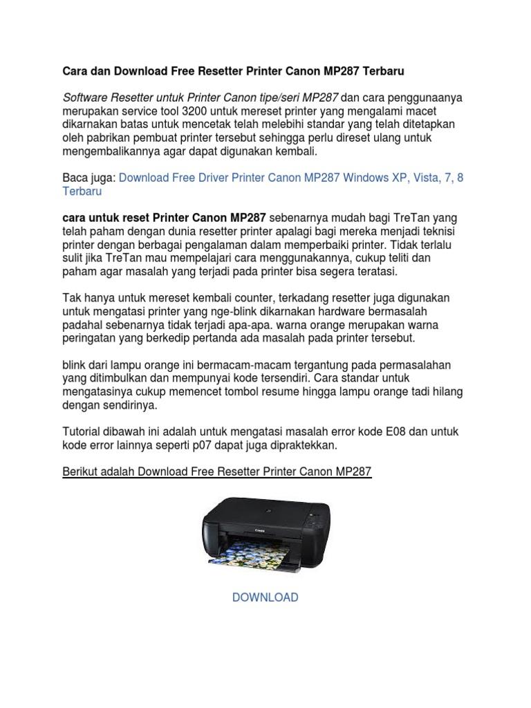 Cara Dan Download Free Resetter Printer Canon Mp287 Terbaru
