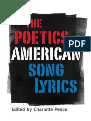 Charlotte Pence Ed The Poetics Of American Song Lyrics Pdf