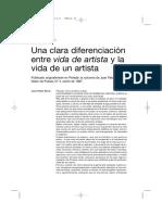 Nota escrita por Renzi Una clara diferenciación entre vida de artista y vida de un artista.pdf