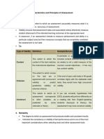 Characteristics and Principles of Assessment