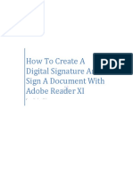 How to Create a Digital Signature and Sign a Document Reader XI