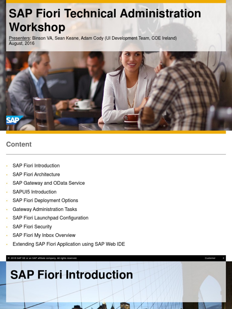 Fiori Technical Administration Workshop Slide Deck | Sap Se | Mobile App