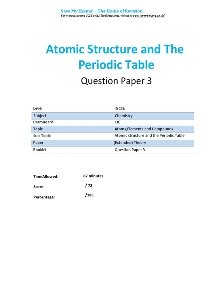 Periodic table igcse pdf