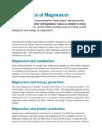 @ Significance of Magnesium