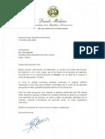 Carta de solidaridad del presidente Danilo Medina a Tsai Ing-wen, presidenta de la República de China (Taiwán), por víctimas de terremoto