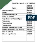 Precios de Productos Para El 14 de Febrero