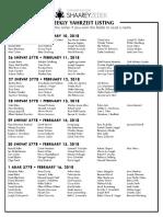 February 10, 2018 Yahrzeit List