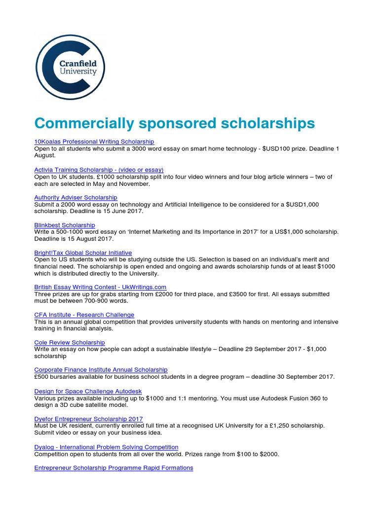 Commercially Sponsored Scholarships   Postgraduate Education