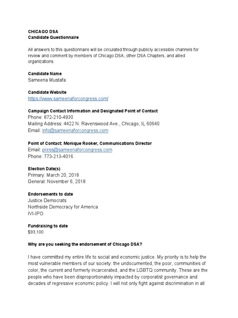 Chicago DSA Questionnaire_MUSTAFA | The United States