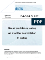 EA-3-04 Use of Profiency Testing as a Tool for Accreditation in Testing