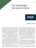 Melis - Reforma Universitaria y Mariategui