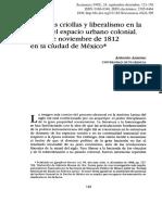 Prácticas criollas y liberalismo en la crisis del espacio urbano colonial