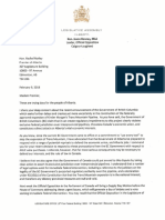 Jason Kenney's letter to Premier Rachel Notley, Feb. 9 2018