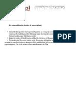 La Composition Du Dossier de Souscription