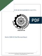 IIM Calcutta Final Placements 2010