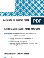 National vs Campus Paper Compared (CAMPUS JOURNALISM)