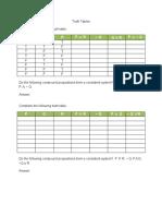 5 Truth Tables Worksheet