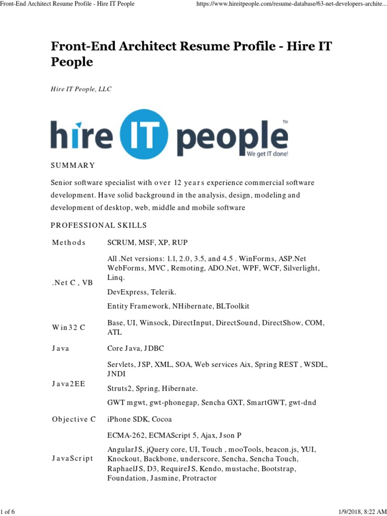 Front-End Architect Resume Profile - Hire IT People | Angular Js