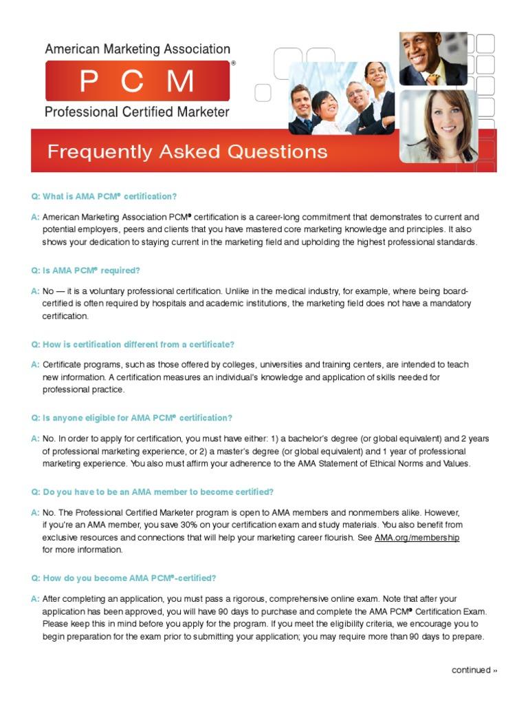 Pcm Faqs2016 Professional Certification Test Assessment
