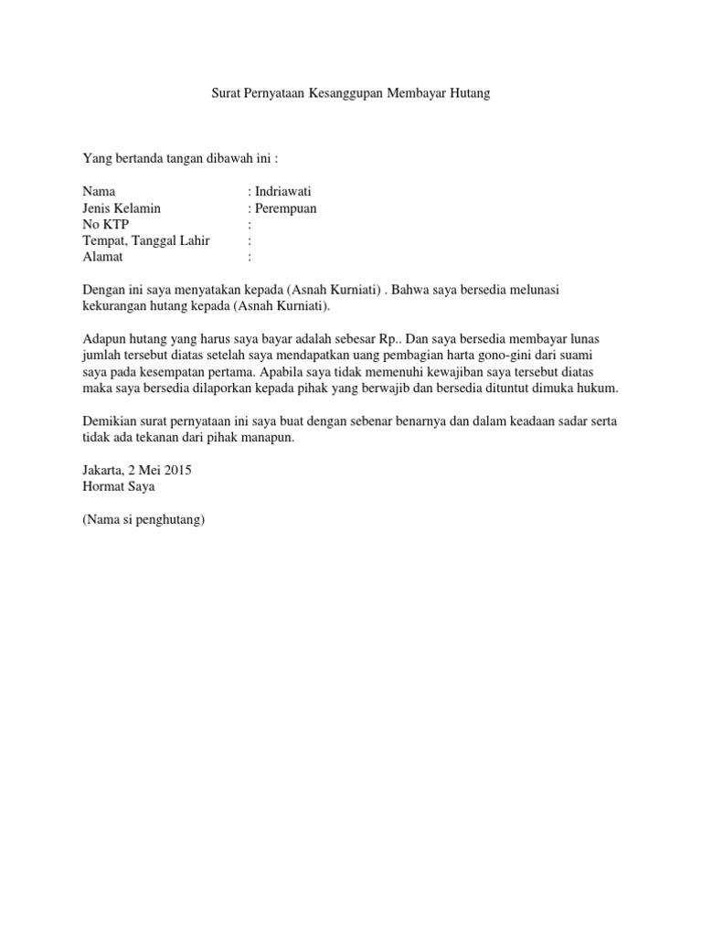 Contoh Surat Pernyataan Membayar Hutang