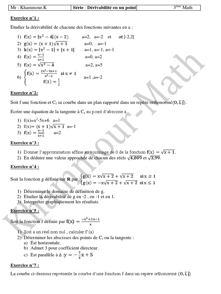 Serie D Exercices Math Derivabilite En Un Point 3eme Math 2013 2014 Mr Khammour Khalil Courbe Tangente Geometrie