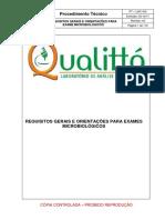 PT-LMC 002 Requisitos Gerais e Orientações Para Exames Microbiológicos