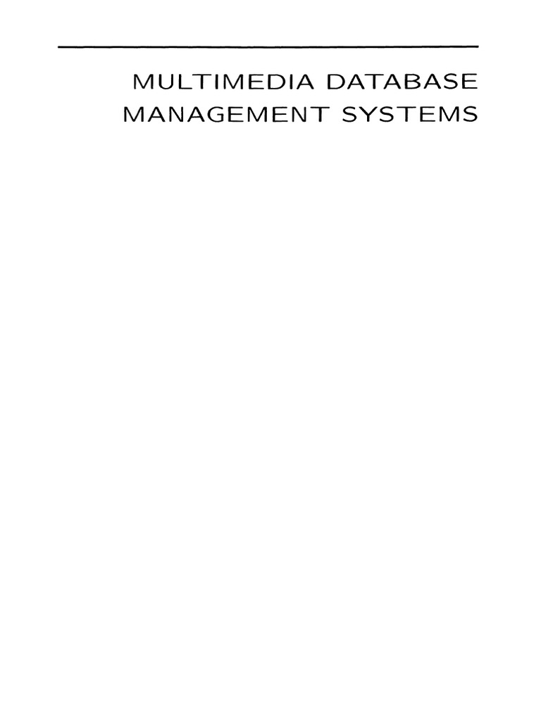 Multimedia Database Management Systems B Prabhakaran Pdf