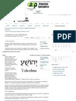 A Questão Do Nome Yehoshuah - CACP - Ministério Apologético