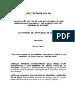 PROYECTO DE LEY POR EL CUAL SE CONSAGRA LA EDAD MÍNIMA PARA REGISTRARSE Y SER MIEMBRO DE REDES SOCIALES EN INTERNET[1]