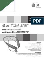 Lg Tone Ultra Hbs-800 User Guide (Spanish)