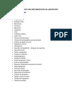 Lista de Equipos Para Implementación de Laboratorio